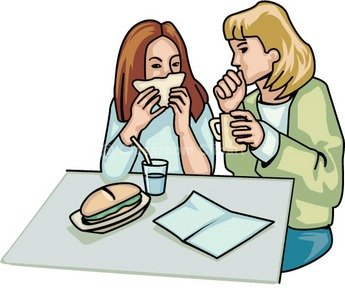 Clipart of teacher and student eating lunch.