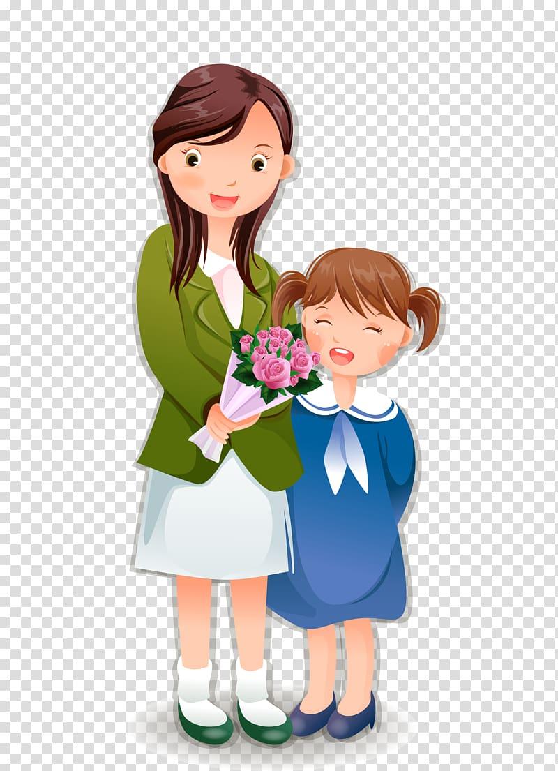 Student Teachers Day, Cartoon girls and teachers transparent.
