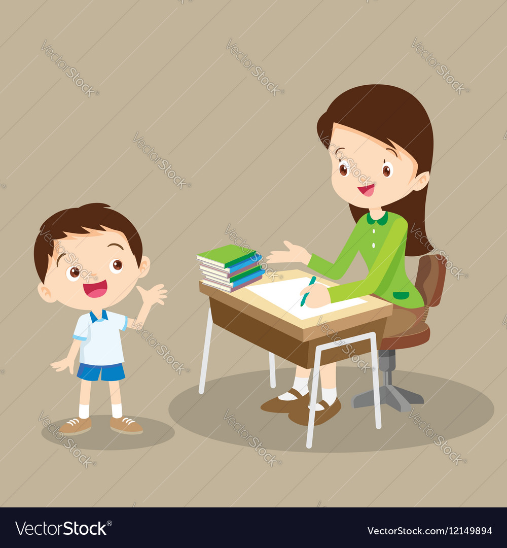 Teacher working and talk with student.
