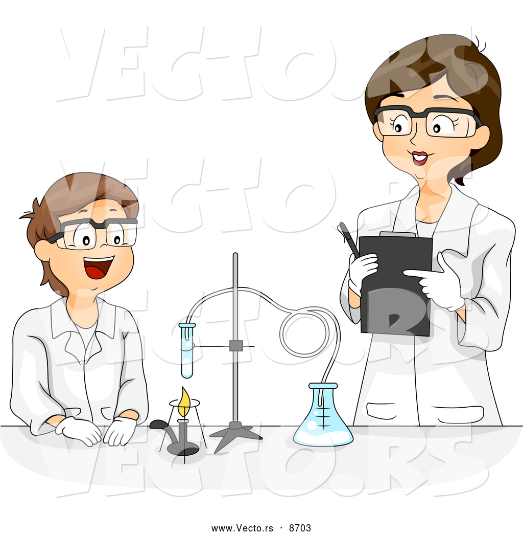 Vector of a Cartoon Female Science Teacher Working with a Happy.