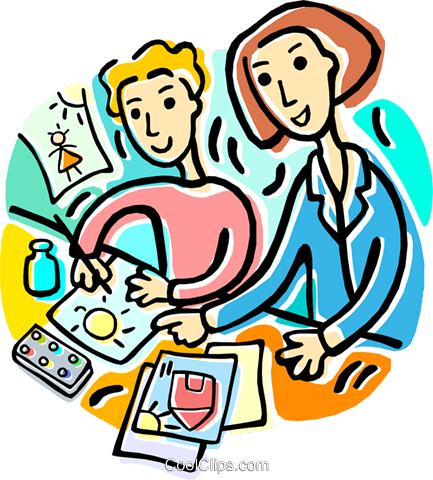 teacher and students drawing pictures Royalty Free Vector Clip Art.