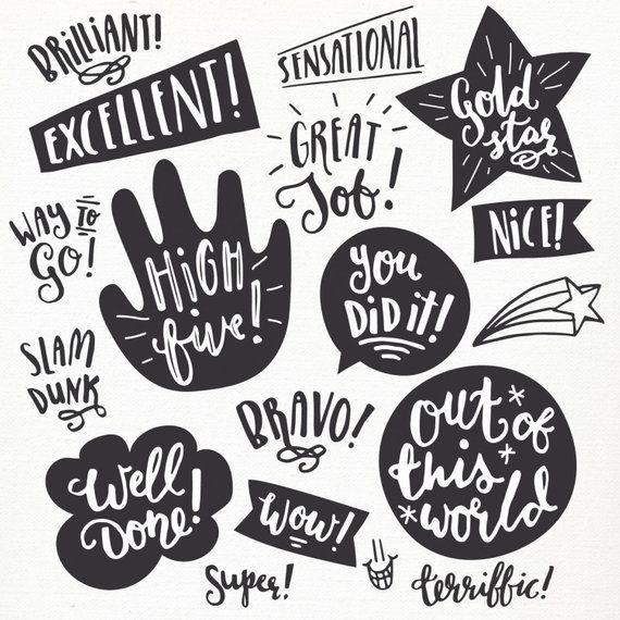 Encouragement Clip Art Set // Students Teachers Parents.