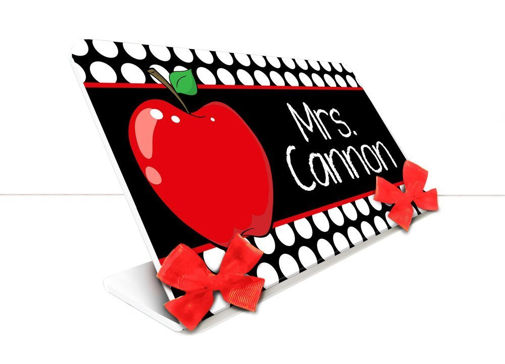 Amazon.com: Personalized Red Apple Theme Teacher Desk Name.