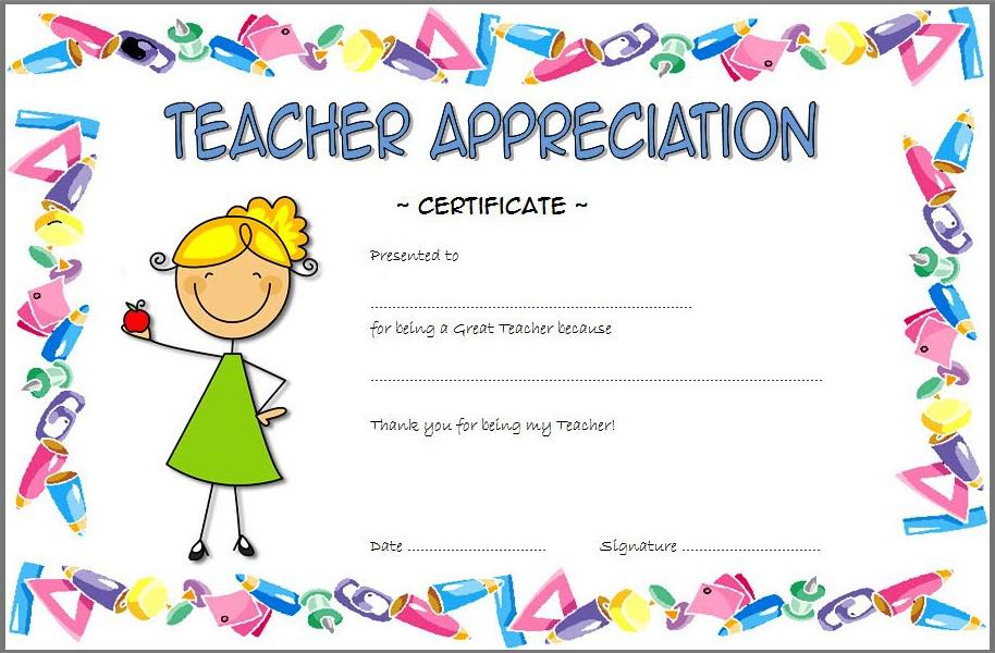 free printable teacher appreciation certificates.