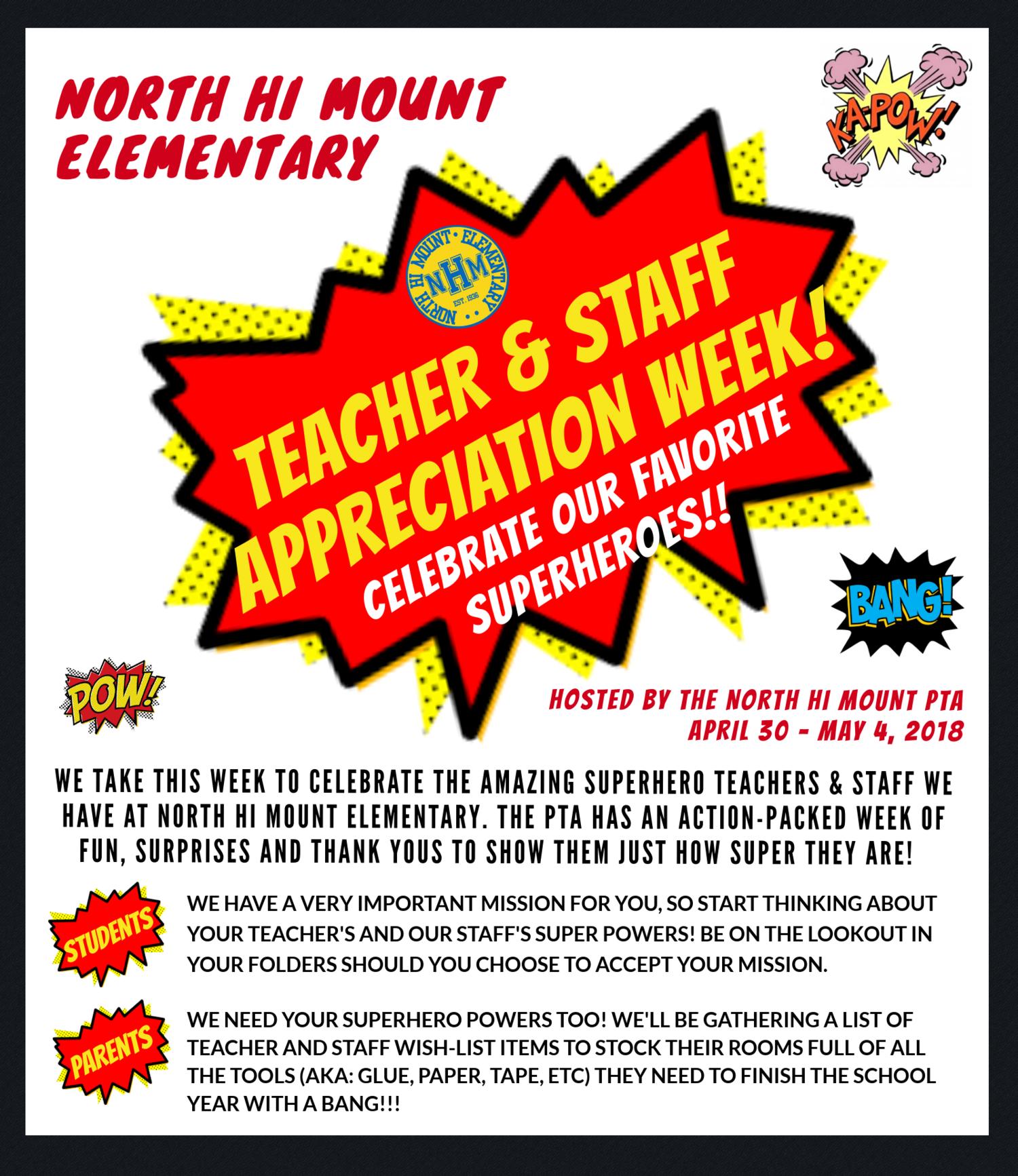 TEACHER & STAFF APPRECIATION WEEK — North Hi Mount.