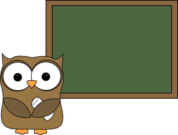 Owl and Blank Chalkboard (Clipart for teachers).