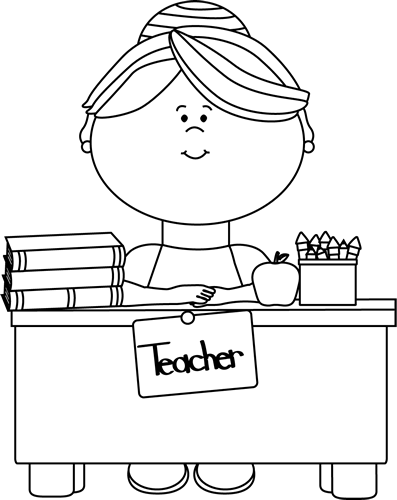 Black and White Teacher Sitting at a Desk Clip Art.