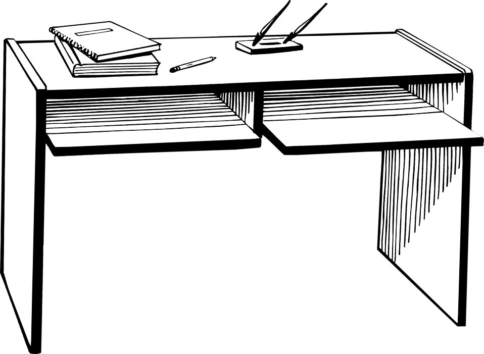 Student Clipart Black And White: Teacher At Desk Clipart Black And White