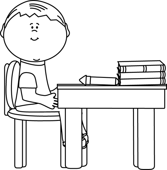 Black and White School Boy at Desk Clip Art.