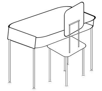 White Student Desk Clip Art.