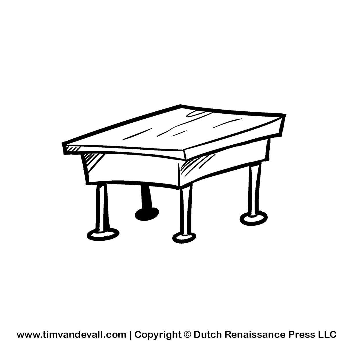 Desk Clipart Black And White.