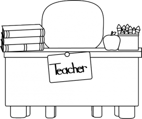 Black And White Clipart Desk.
