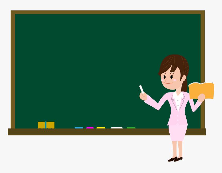 Download Female Teacher On Blackboard In Classroom.