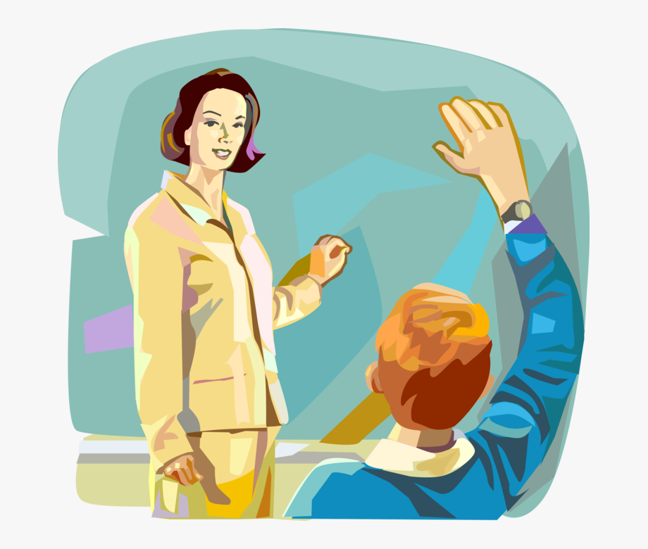 Vector Illustration Of Teacher Teaching In School Classroom.