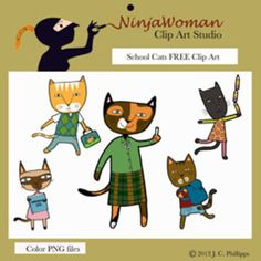 Ninja Critters FREE Clip Art: owl, squirrel, cat, mouse, and pig.