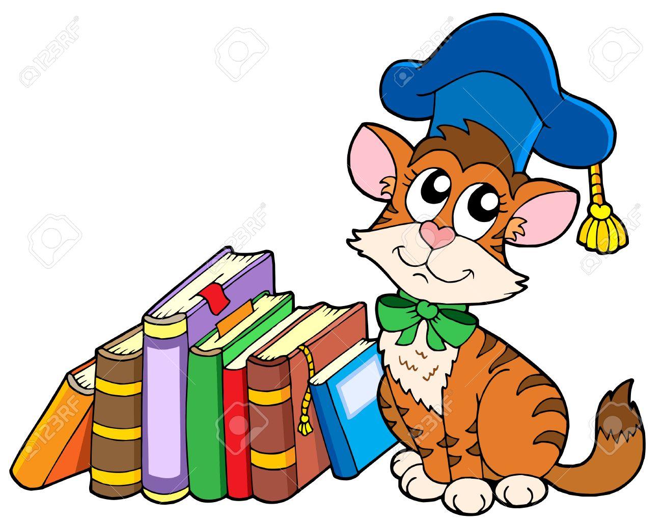 Cat Teacher With Books.