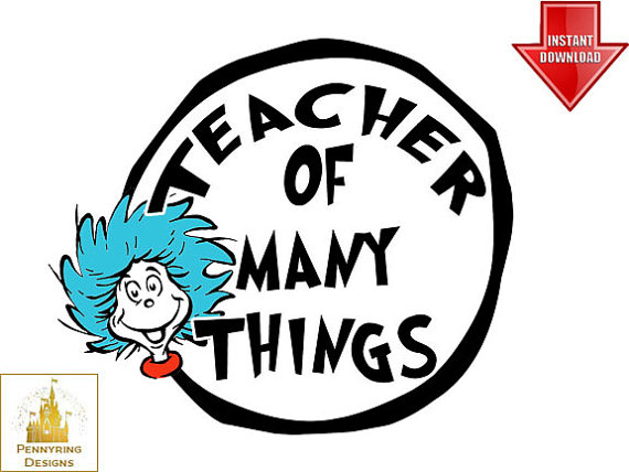 Teacher Dr. Seuss Suess Thing 1 and Thing 2 Logo T Shirt Decal.