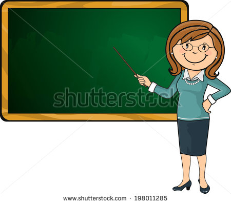 Vector Illustration Teacher Woman School Pointer Stock Vector.