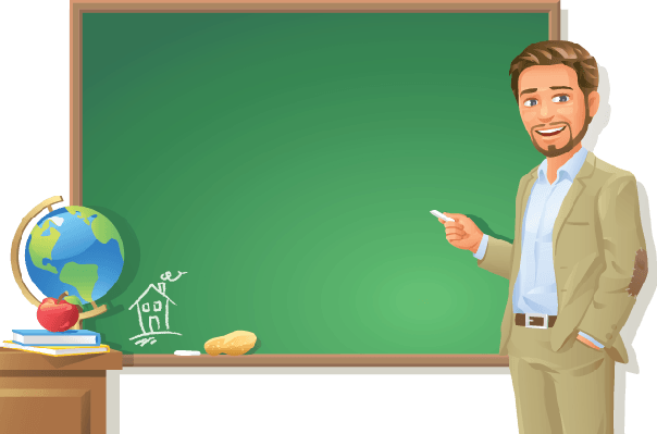 Blackboard With Teacher Clipart.