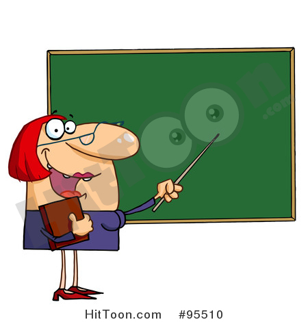 Teacher Clipart #95510: Welcoming Female Teacher Pointing to a.