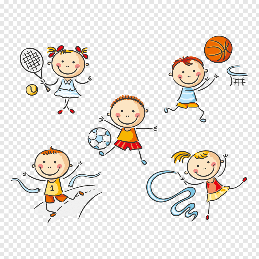 Five girl and boy playing sports, Physical education, Kids.