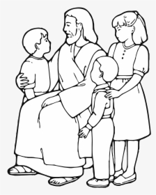 Clipart Of Jesus With Child Teaching Children Line.