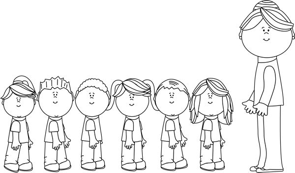 Teacher And Children Clipart Black And White.