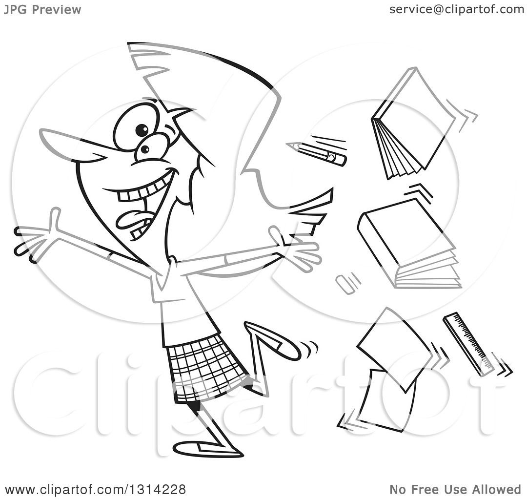 Outline Clipart of a Black and White Cartoon Excited Female.