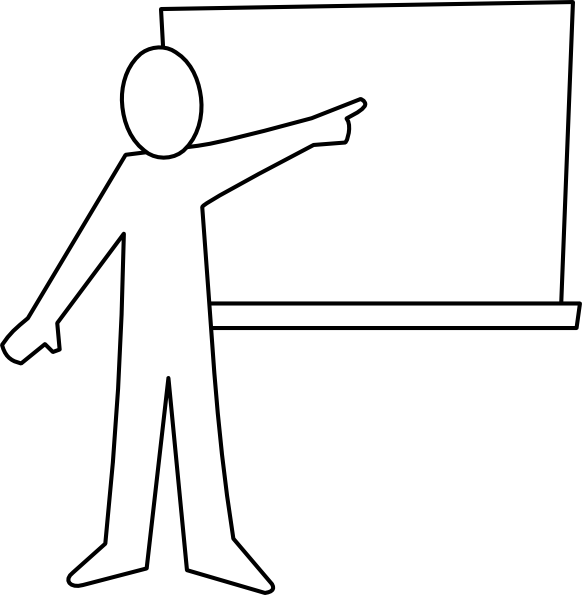 Teacher Pointing At Board Outline Clip Art at Clker.com.