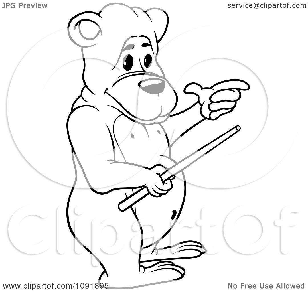 Clipart Outline Of A Teacher Bear Holding A Wand.