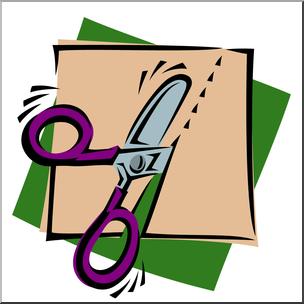 Clip Art: Scissors: Cutting Slant Color I abcteach.com.