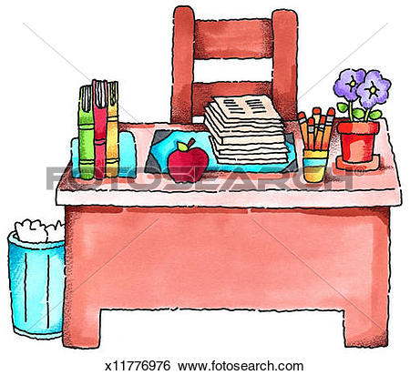 Clipart of Teacher in Front of Classroom x15277551.