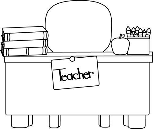 Back and White Teacher's Desk Clip Art.