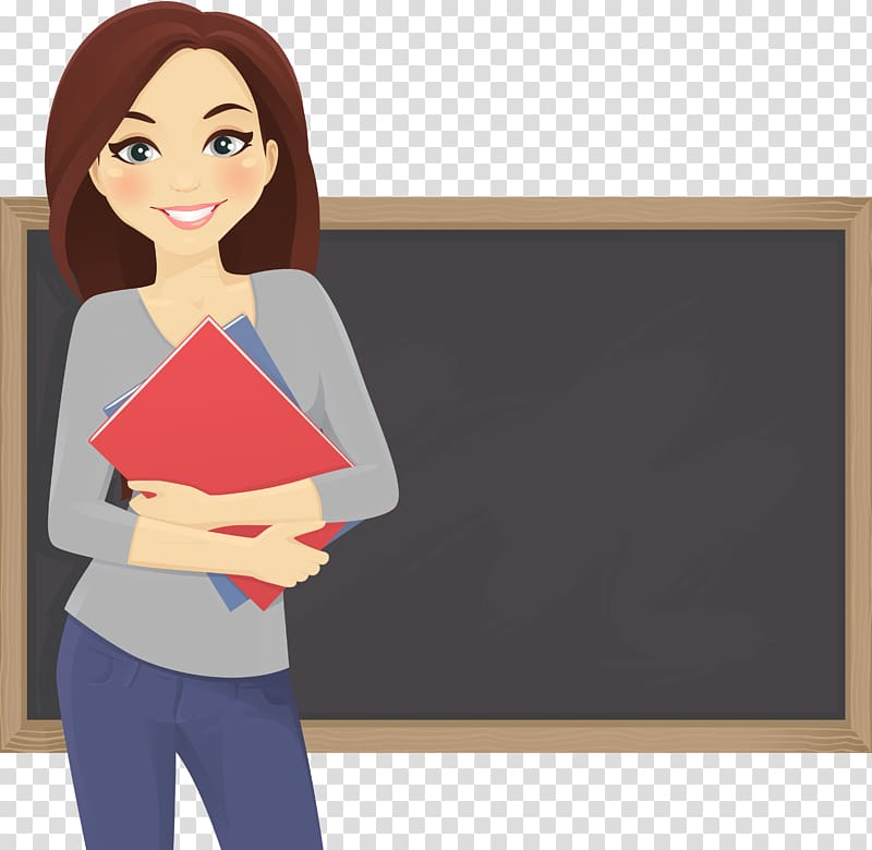 Woman carrying book standing in front of chalkboard.