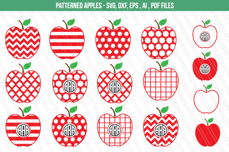 Free Apple SVG,DXF, clipart, Teacher svg, Monogram Cutting.