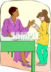 A Colorful Cartoon of a Teacher Giving a Test Paper To a.