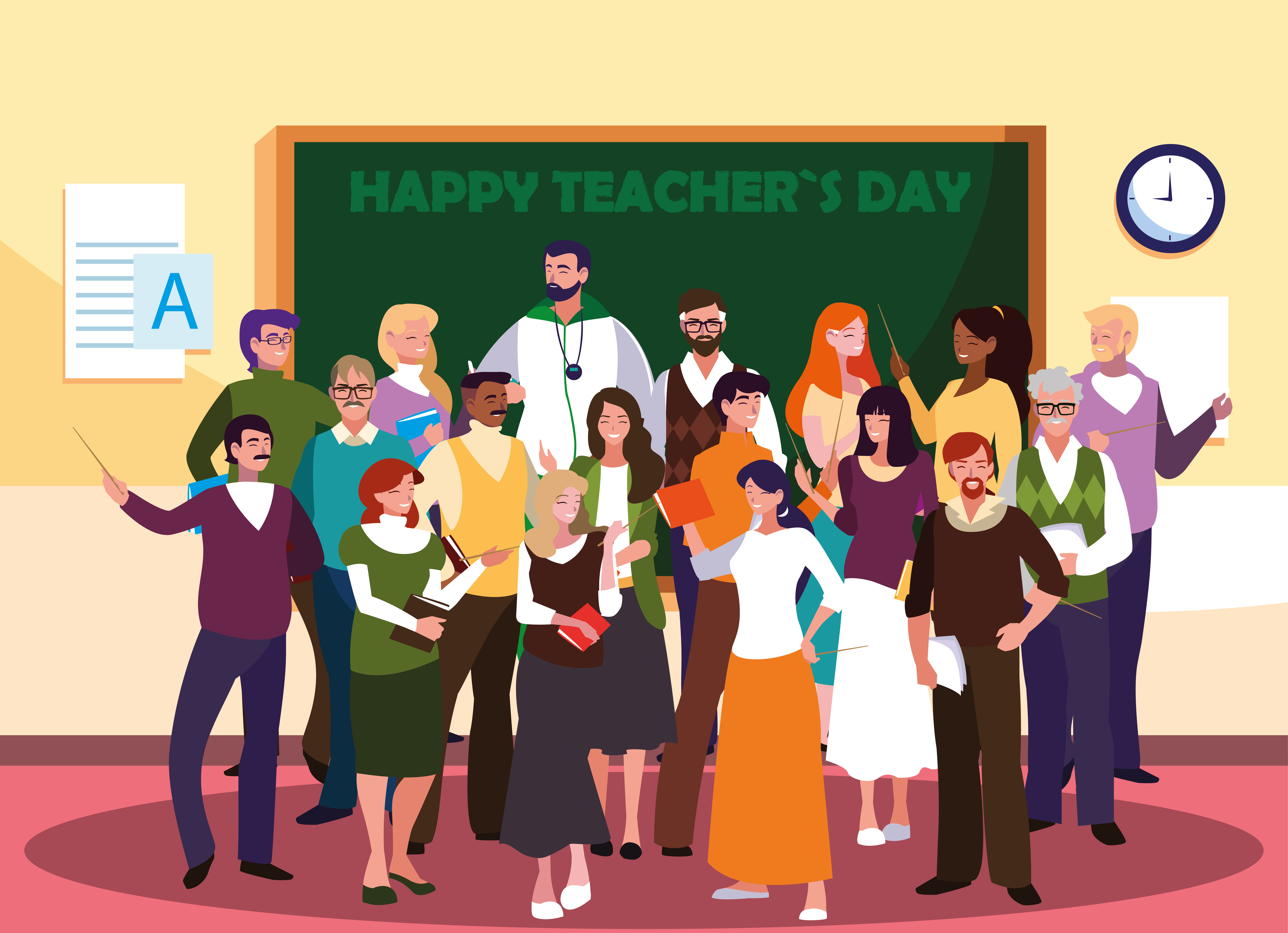 happy teacher day with group of teachers.