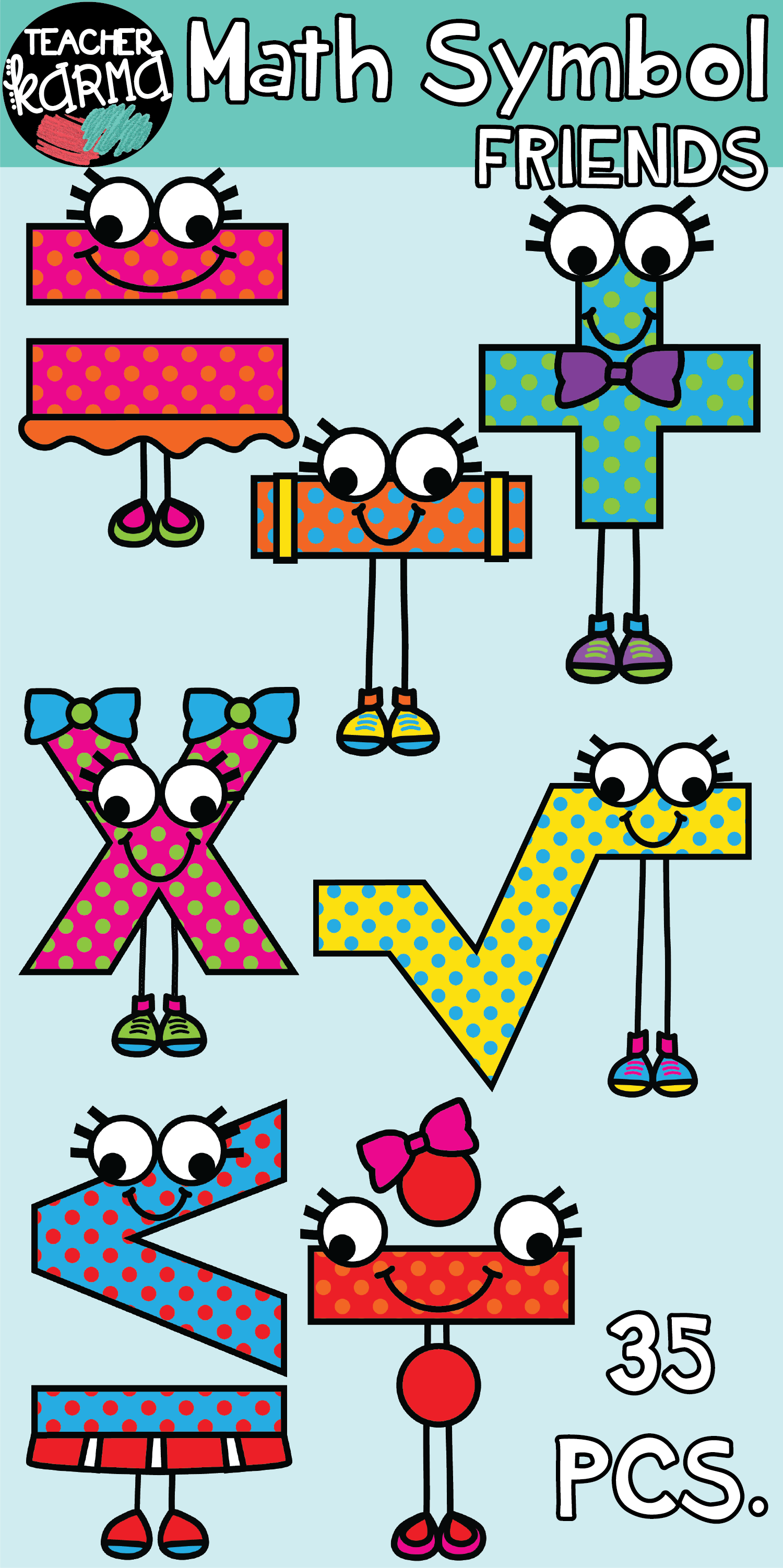 Math Symbol Friends Clipart.