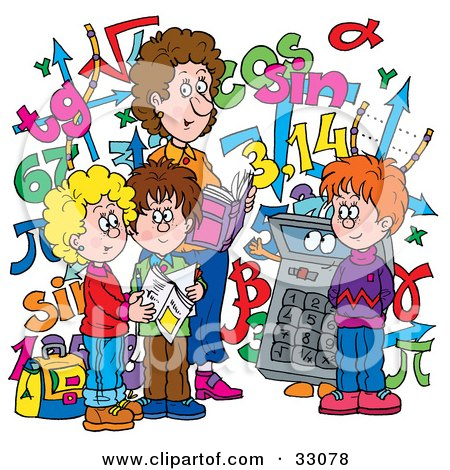 Clipart Illustration of a Female Math Teacher And Students With A.