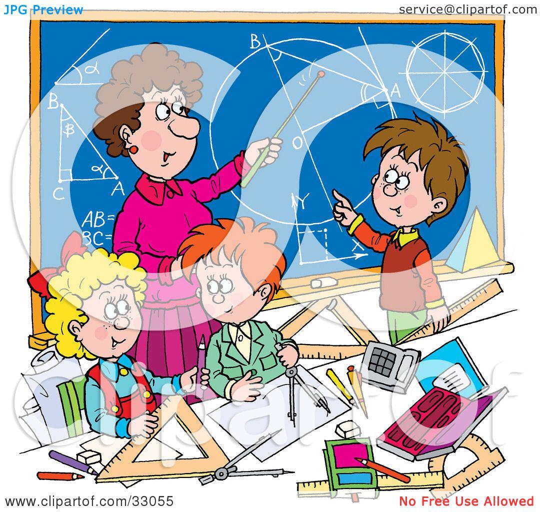 Clipart Illustration of a Female Math Teacher Teaching School.