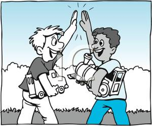 A Colorful Cartoon of Two Boys High Fiving Each Other.