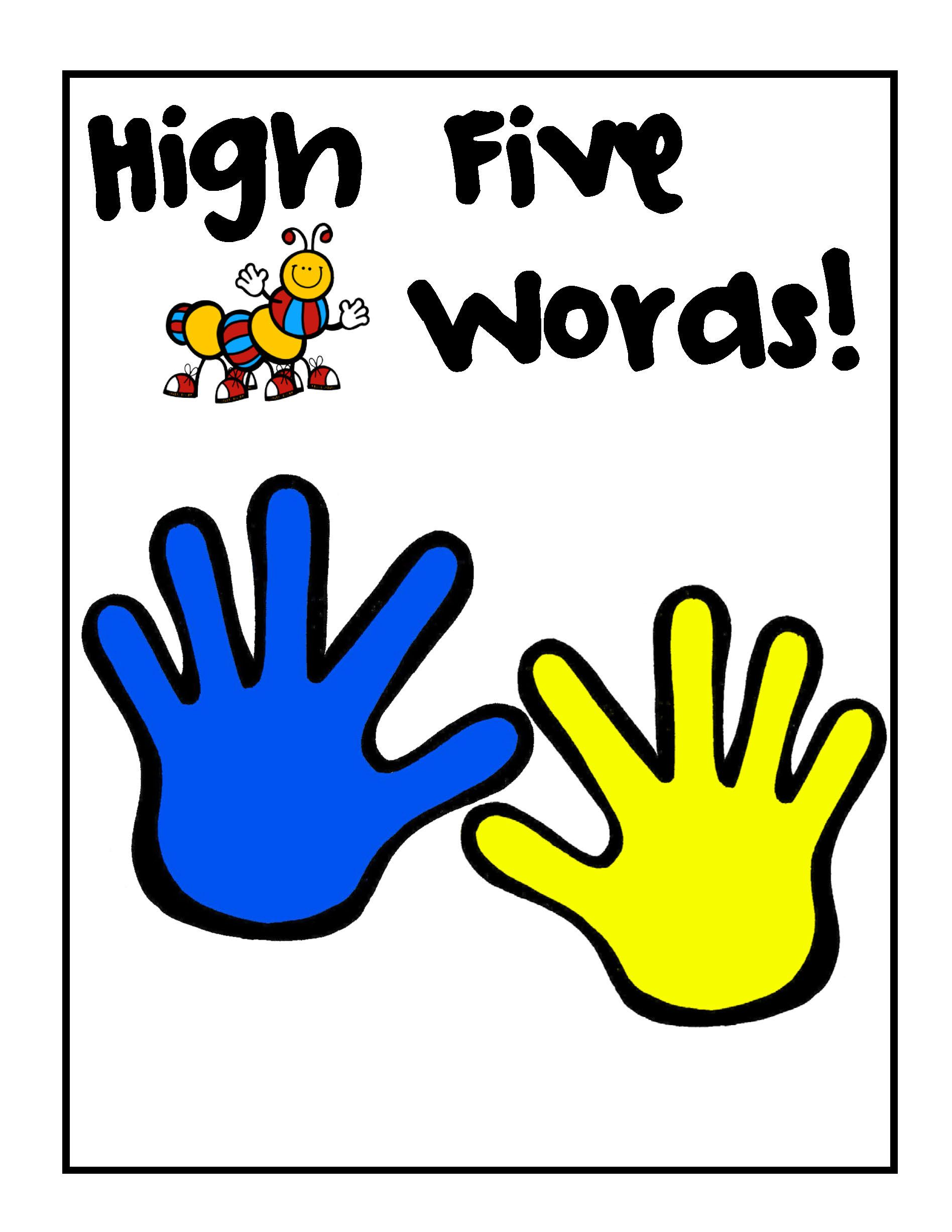 High Five Sight Word Passwords for Door.
