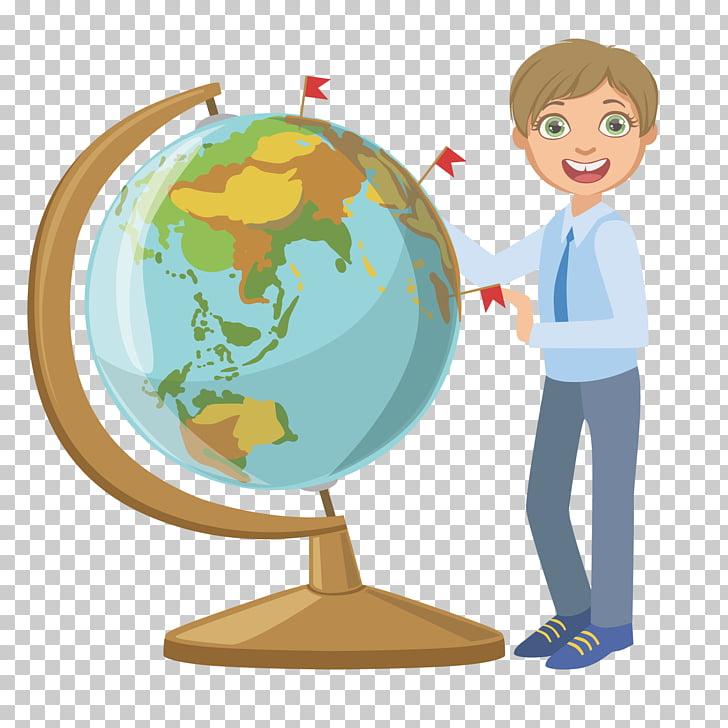 Teacher Cartoon, Geography class globe PNG clipart.