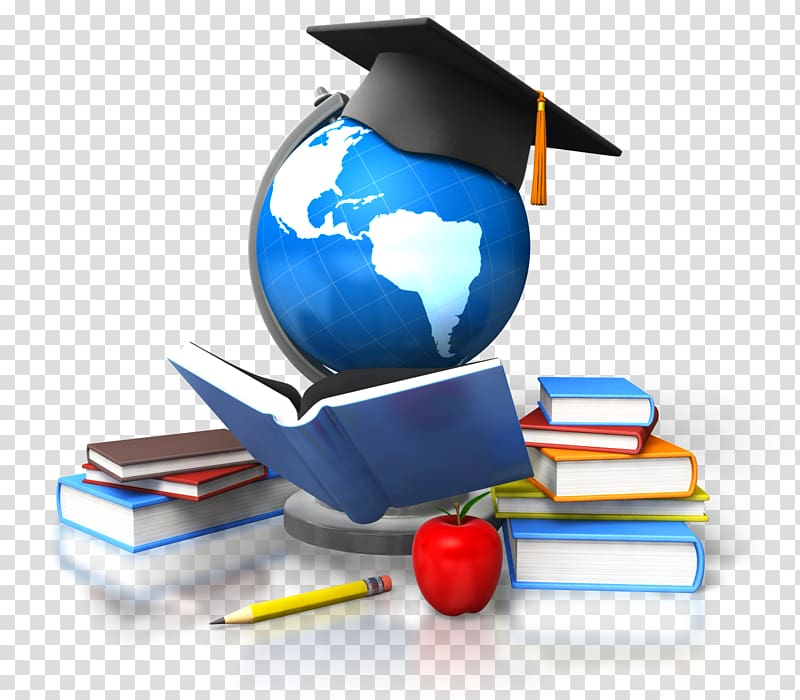 Globe with educational hat illustration, Distance education.