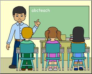 Clip Art: Classroom with Male Teacher Color I abcteach.com.