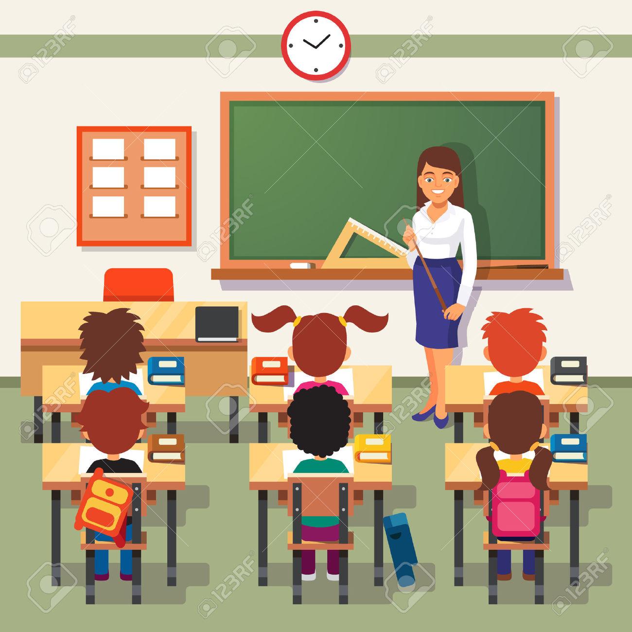 A teacher in a classroom with a skirt on clipart.