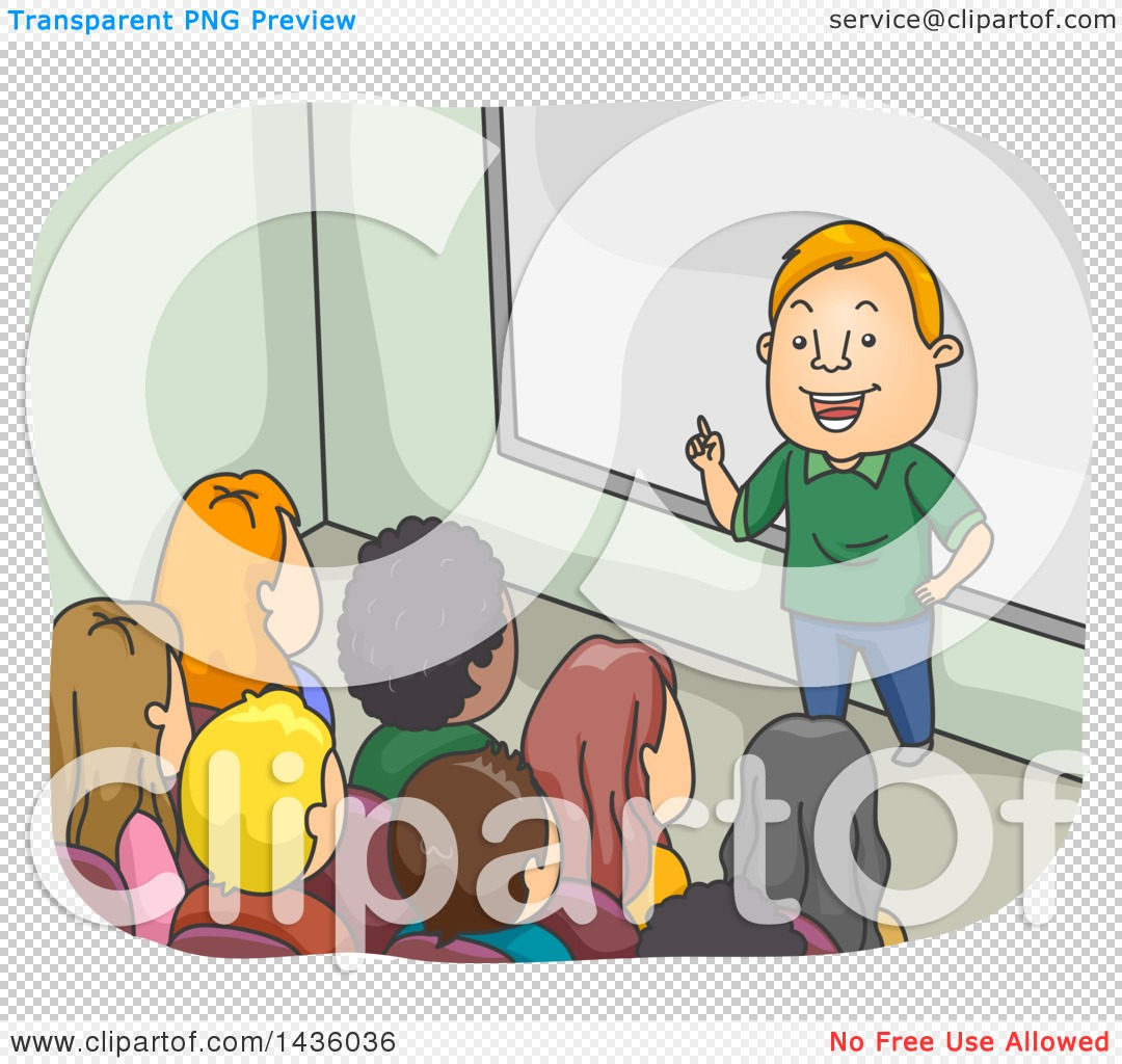 Clipart of a Cartoon White Male Professor or Teacher in Front of a.