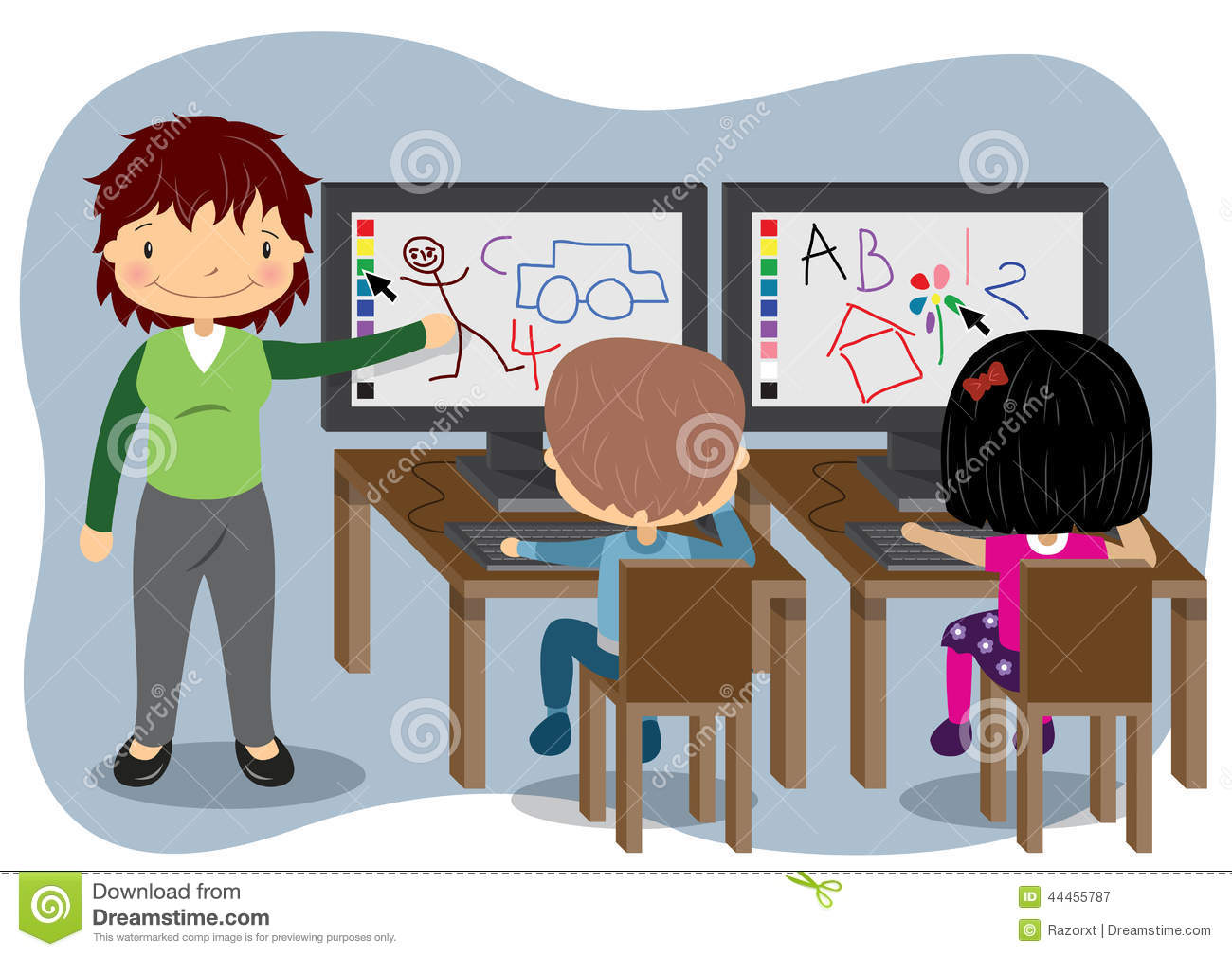 Teaching Computers Stock Vector.