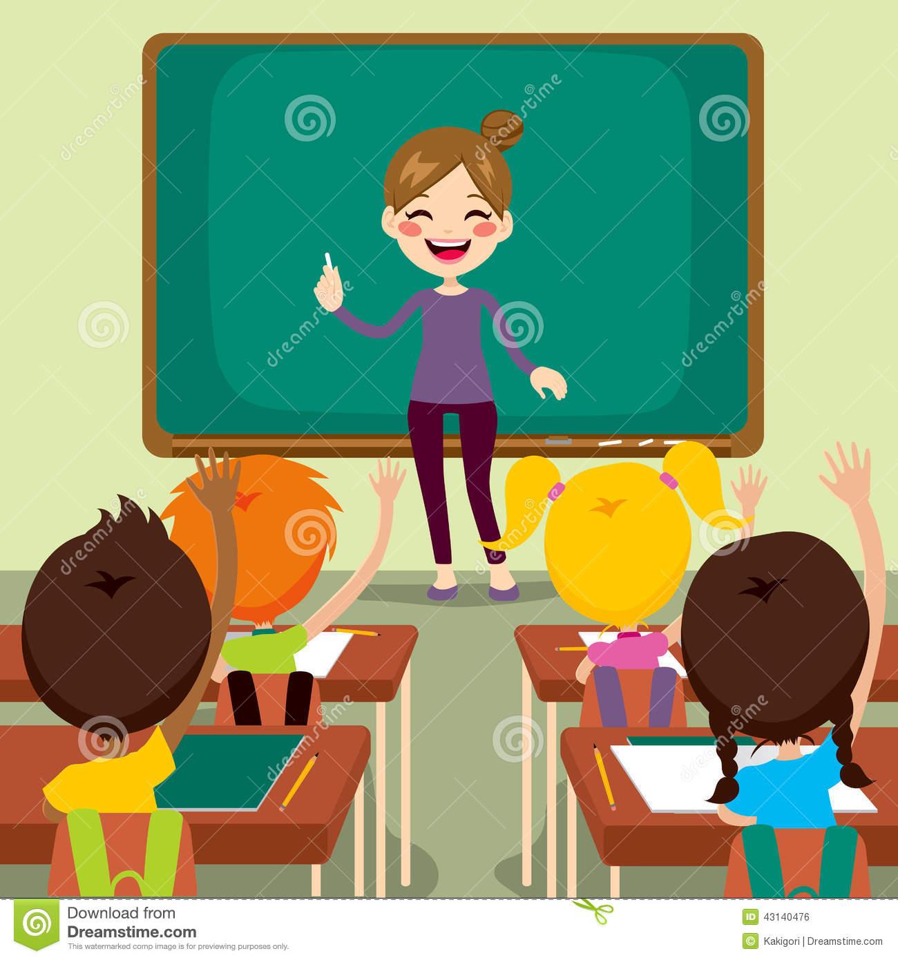 Children And Teacher On Classroom Stock Vector.