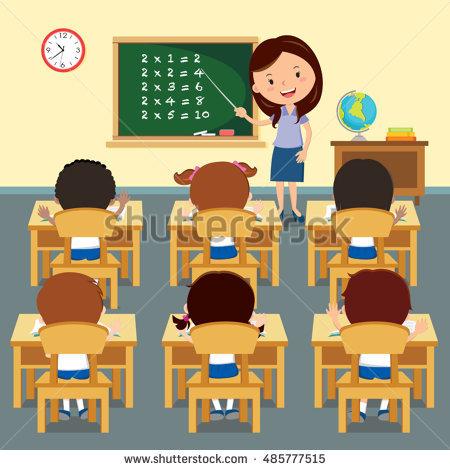 Cheerful Teacher On Lesson Teaching Stock Vector 327025655.
